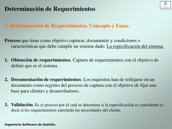 Determinación de Requerimientos