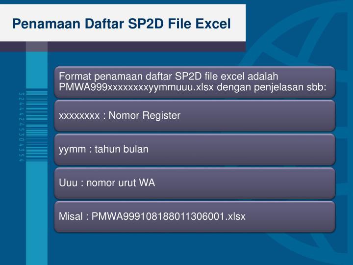 Penamaan Daftar SP2D File Excel