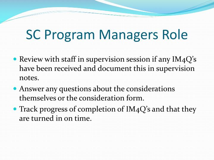 SC Program Managers Role