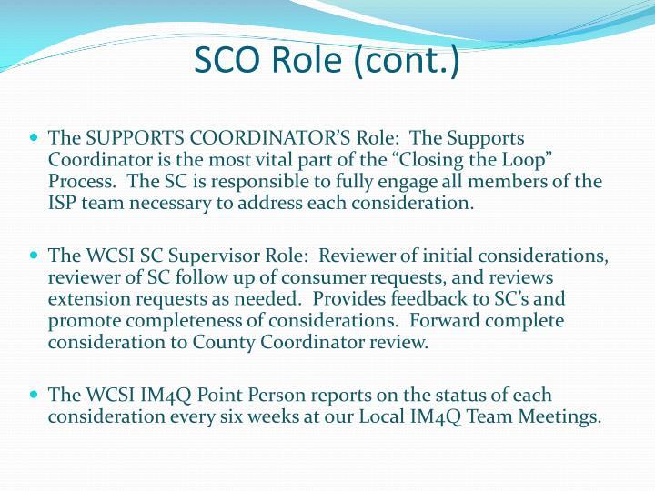 SCO Role (cont.)