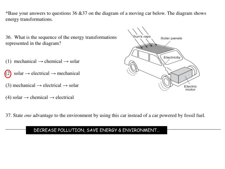 *Base your answers to questions 36 &37 on the diagram of a moving car below. The diagram shows