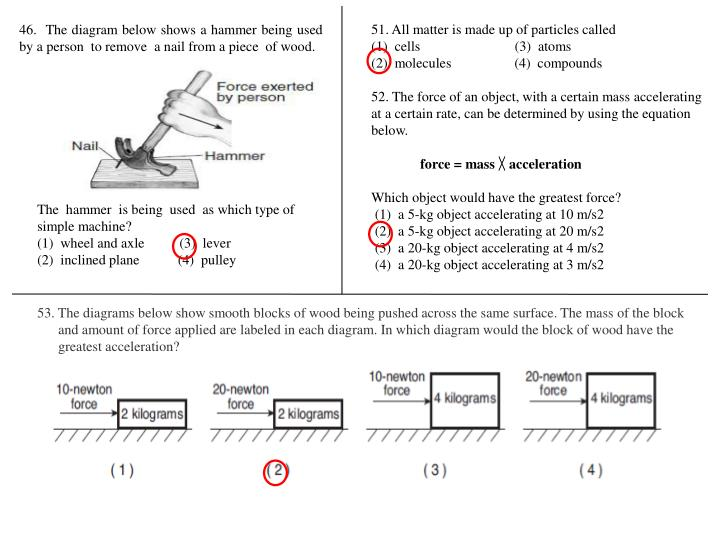 46.  The diagram below shows a hammer being used by a person  to remove  a nail from a piece  of wood.