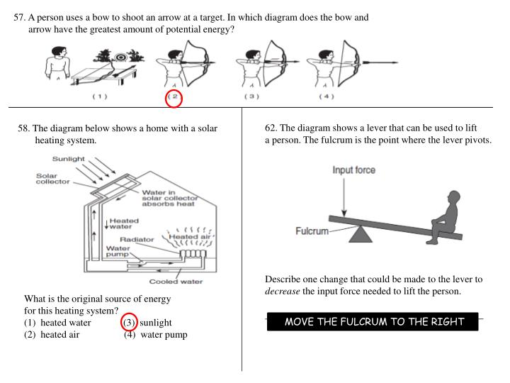 57. A person uses a bow to shoot an arrow at a target. In which diagram does the bow and