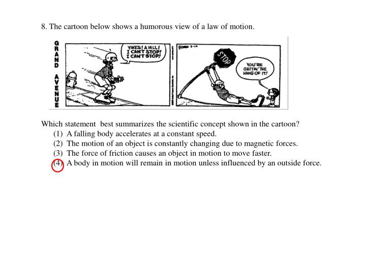 8. The cartoon below shows a humorous view of a law of motion.