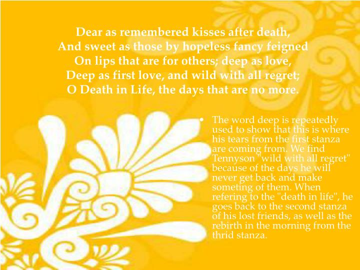 Dear as remembered kisses after death,