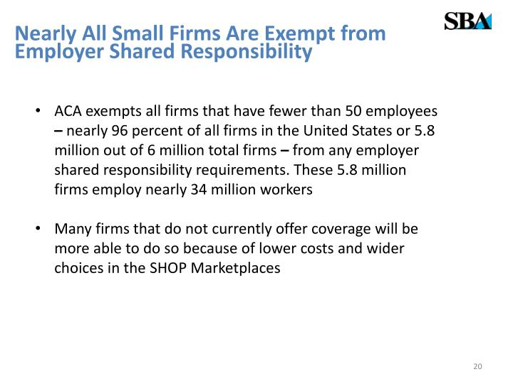 Nearly All Small Firms Are Exempt from