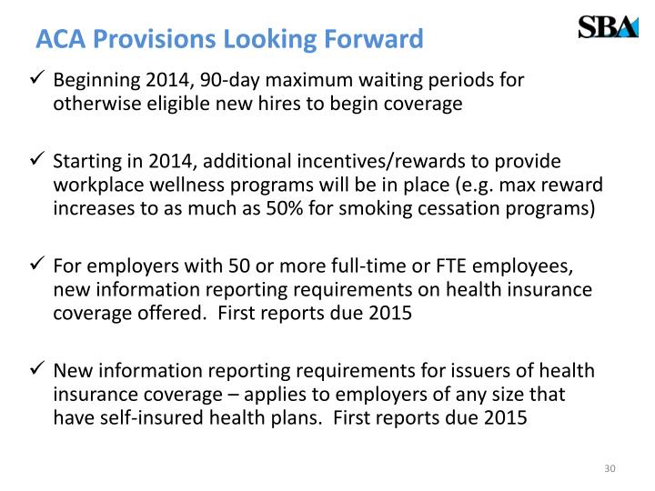 ACA Provisions Looking Forward