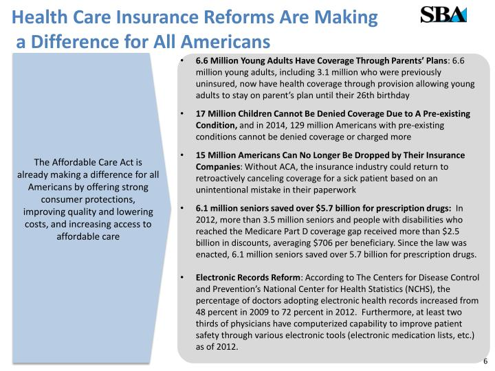 Health Care Insurance Reforms Are Making
