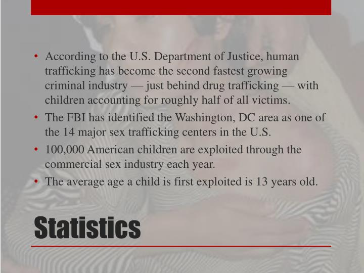According to the U.S. Department of Justice, human trafficking has become the second fastest growing criminal industry — just behind drug trafficking — with children accounting for roughly half of all victims