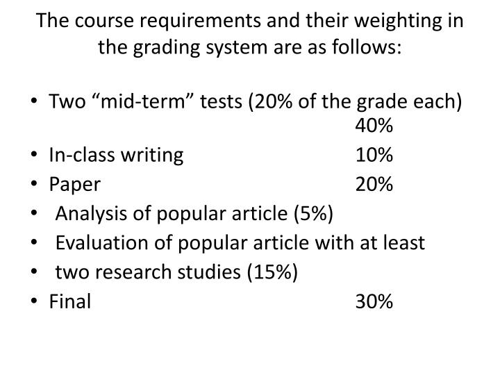The course requirements and their weighting in the grading system are as follows: