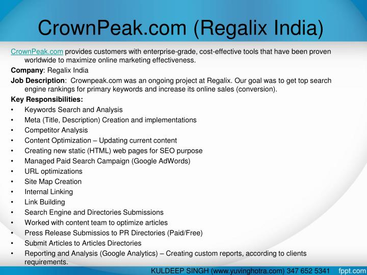 CrownPeak.com (Regalix India)