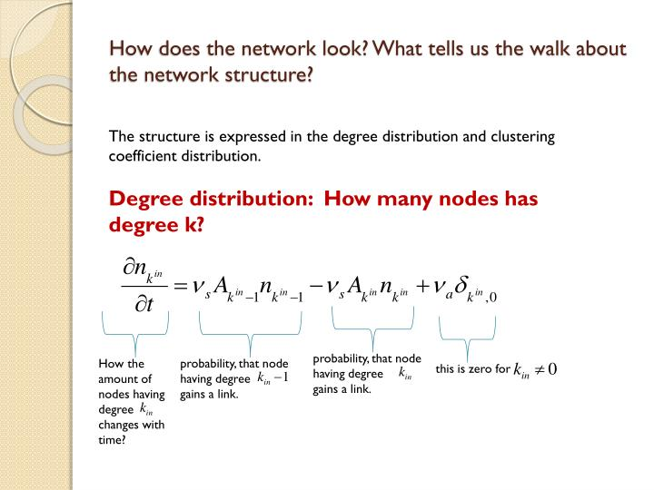 How does the network look? What tells us the walk about the network structure?