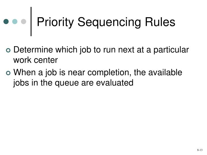 Priority Sequencing Rules