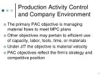 production activity control and company environment
