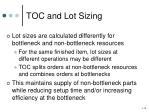 toc and lot sizing