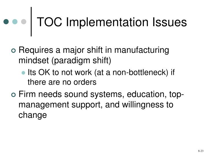 TOC Implementation Issues
