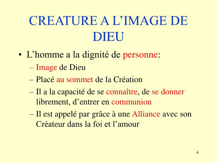CREATURE A L'IMAGE DE DIEU