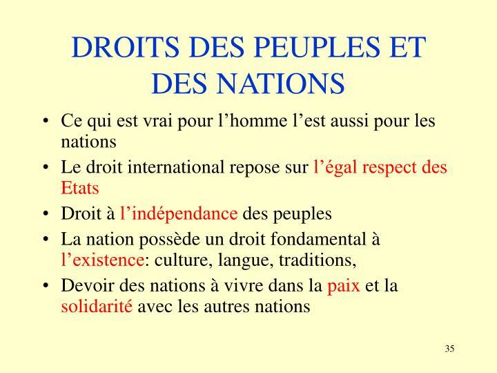 DROITS DES PEUPLES ET DES NATIONS