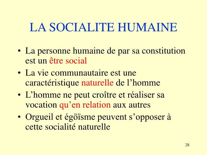 LA SOCIALITE HUMAINE