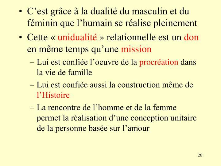 C'est grâce à la dualité du masculin et du féminin que l'humain se réalise pleinement