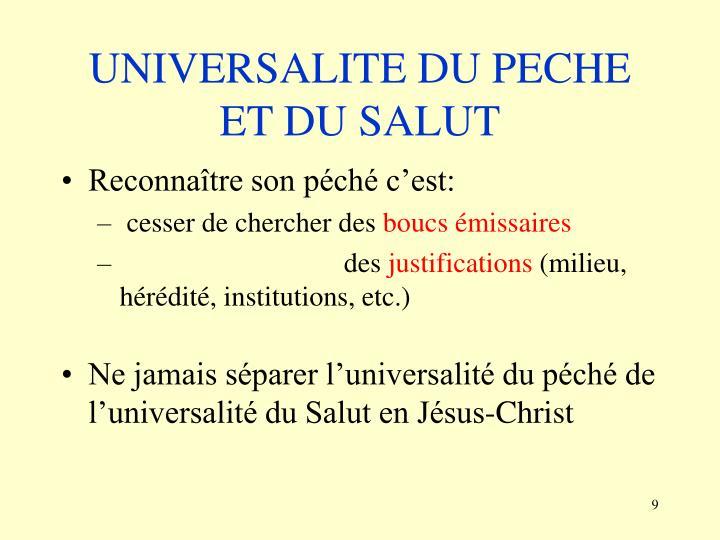UNIVERSALITE DU PECHE ET DU SALUT
