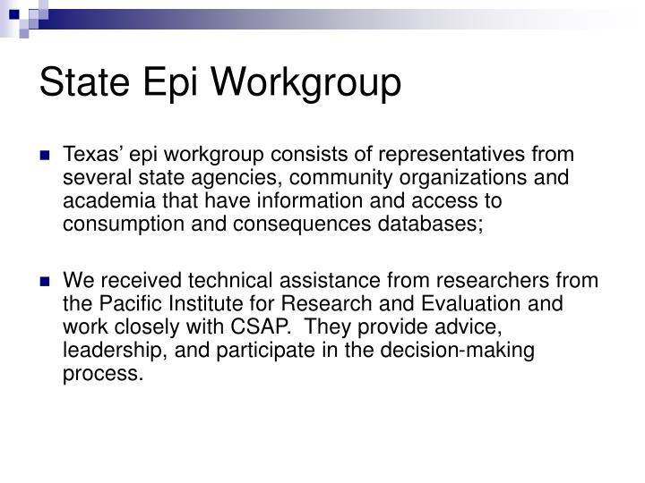 State Epi Workgroup