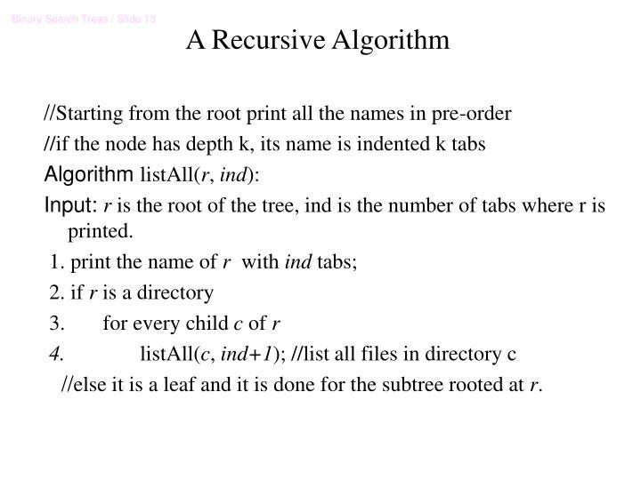 A Recursive Algorithm