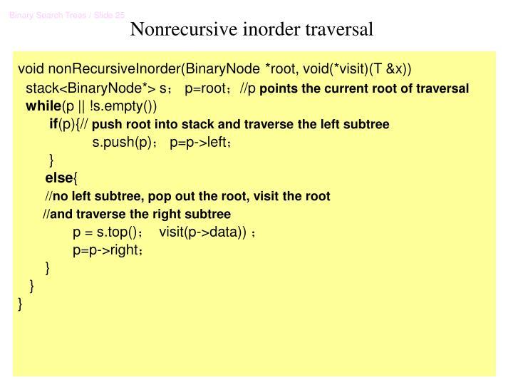 Nonrecursive inorder traversal