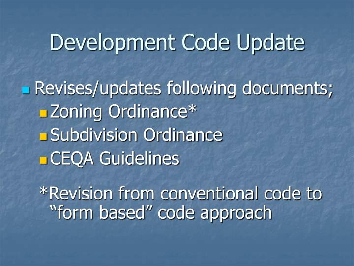 Development Code Update