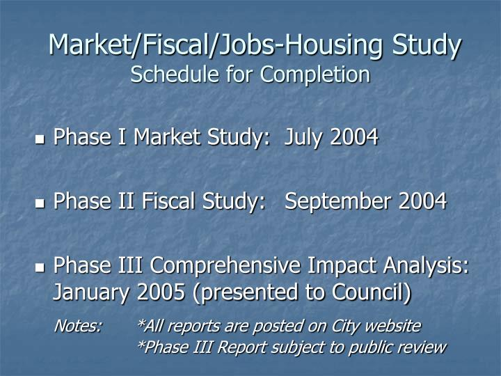 Market/Fiscal/Jobs-Housing Study
