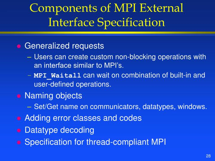 Components of MPI External Interface Specification