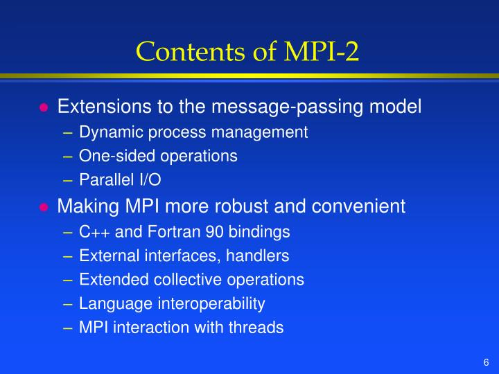 Contents of MPI-2