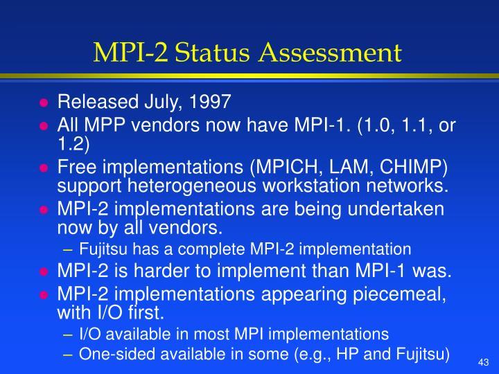 MPI-2 Status Assessment