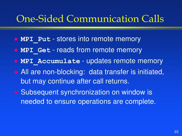 One-Sided Communication Calls