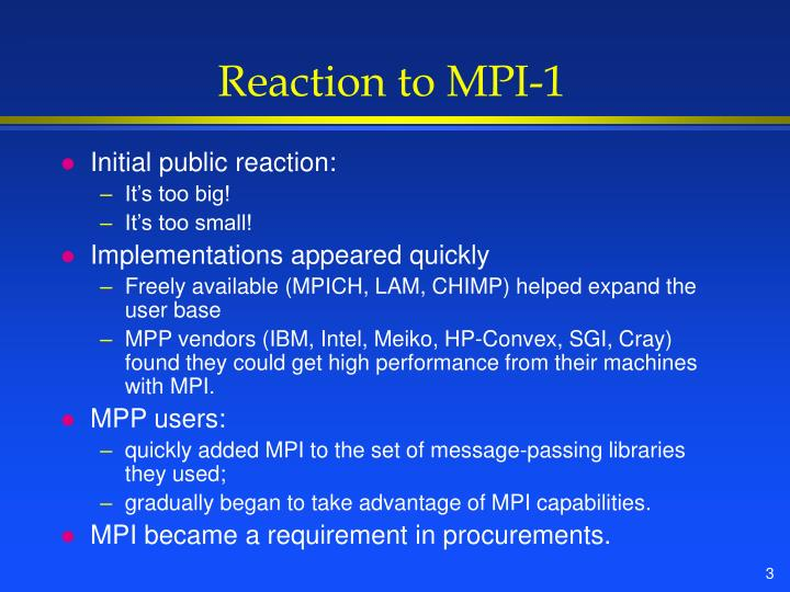 Reaction to MPI-1