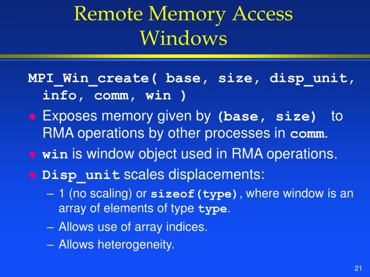 Remote Memory Access Windows
