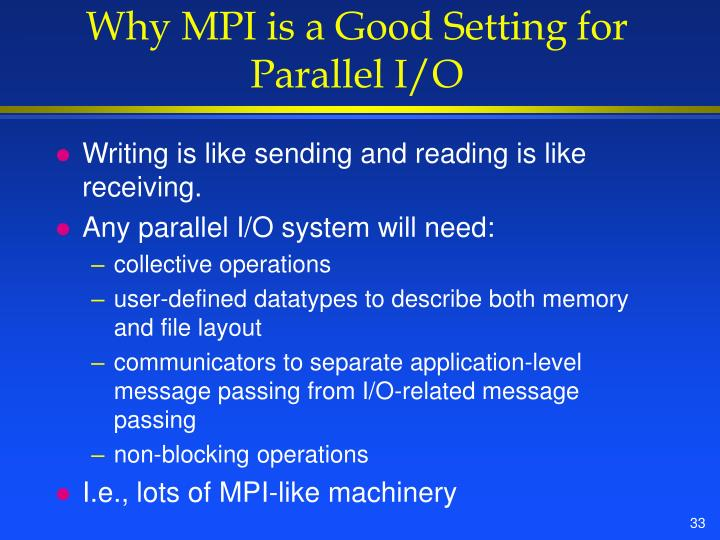 Why MPI is a Good Setting for Parallel I/O