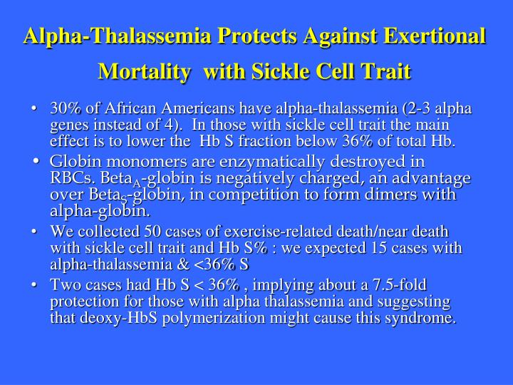 Alpha-Thalassemia Protects Against Exertional Mortality  with Sickle Cell Trait