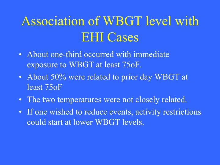 Association of WBGT level with EHI Cases