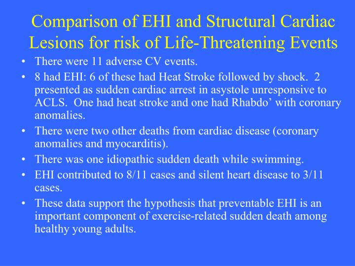 Comparison of EHI and Structural Cardiac Lesions for risk of Life-Threatening Events