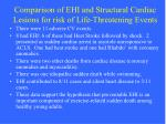 comparison of ehi and structural cardiac lesions for risk of life threatening events