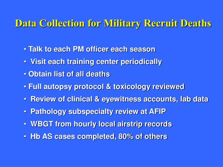 Data Collection for Military Recruit Deaths
