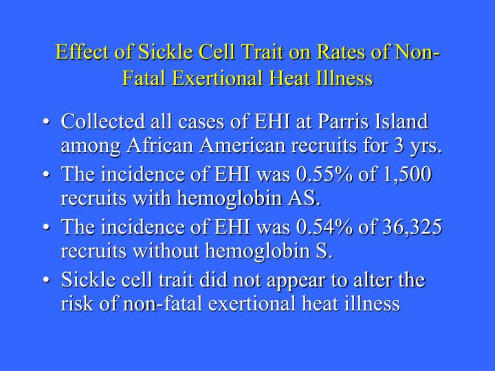 Effect of Sickle Cell Trait on Rates of Non-Fatal Exertional Heat Illness