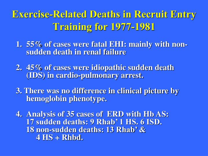 Exercise-Related Deaths in Recruit Entry Training for 1977-1981