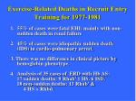 exercise related deaths in recruit entry training for 1977 1981