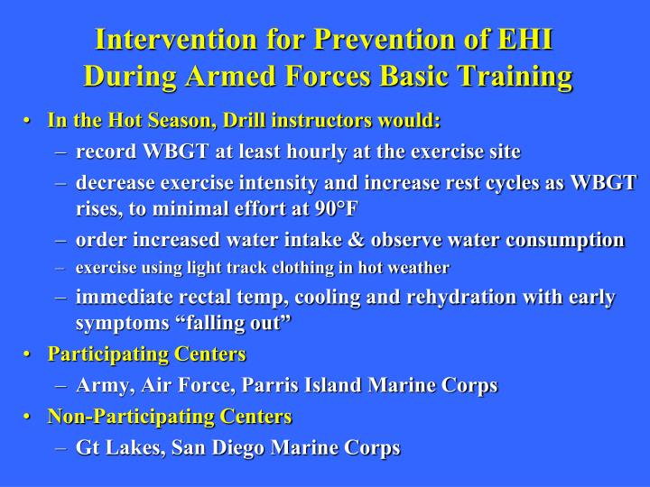 Intervention for Prevention of EHI