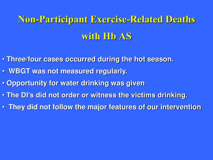 Non-Participant Exercise-Related Deaths with Hb AS