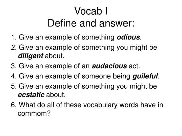 Vocab I