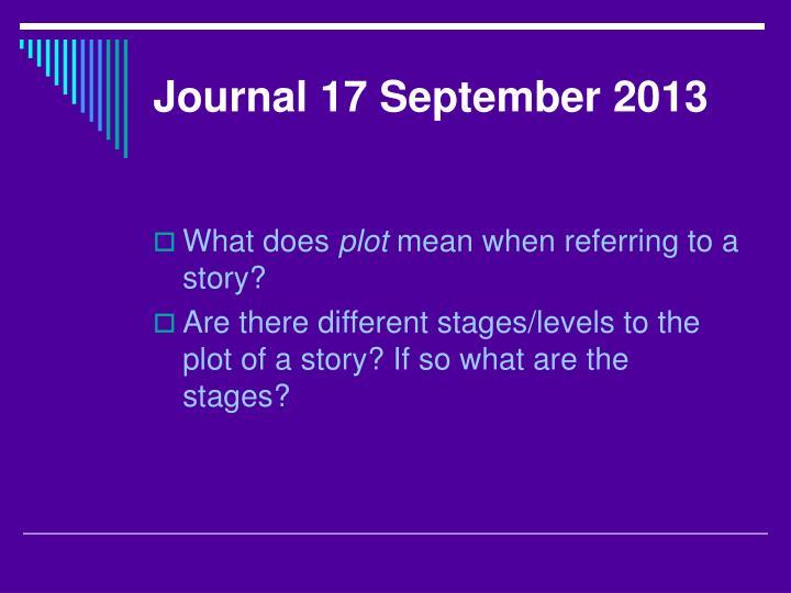 Journal 17 September 2013