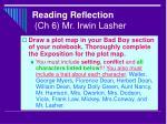 reading reflection ch 6 mr irwin lasher